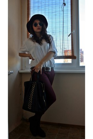 black Zara bag - brick red Mohito hat - white Yves Saint Laurent shirt