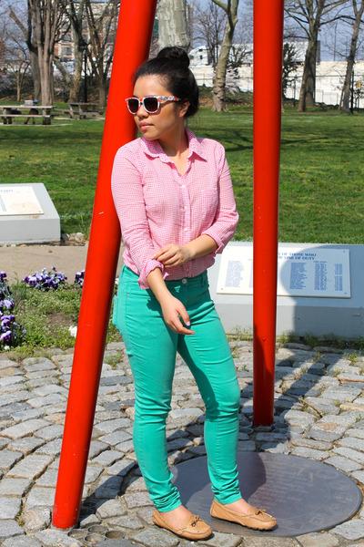 aquamarine H&M pants - bubble gum Gap shirt - tan Vince Camuto loafers