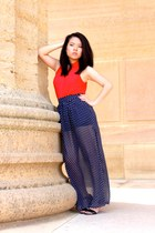 navy Forever 21 skirt - red H&M top - black Aldo heels