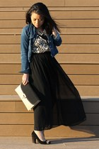 black American Apparel skirt - blue Gap jacket - Forever 21 top