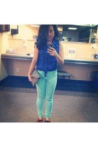 blue H&M blouse - brown Minnetonka shoes - aquamarine Gap jeans