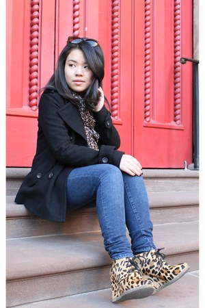 shoemint wedges - black Gap coat - blue Gap jeans - H&M scarf