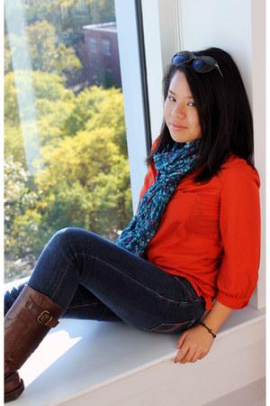 legging jeans hollister jeans - Steve Madden boots - floral print H&M scarf
