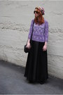 Used-as-turban-scarf-black-mini-satchel-gina-tricot-bag-light-purple-beaded-