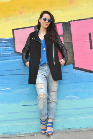 Sheinside coat - Zara jeans - Zara heels - Zara t-shirt