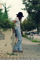 light blue vintage pants - black H&M hat - brown Ebay bag - Nasty Gal heels