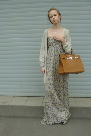 Zara sweater - Zara dress - Hermes purse