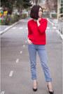 Blue-cotton-vivienne-westwood-jeans-red-wool-j-crew-sweater