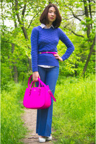 blue JCrew sweater - navy H&M jeans - hot pink kate spade bag