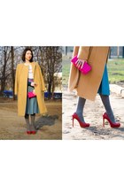 mustard wool Alexander Wang coat - hot pink straw JCrew bag