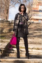 hot pink bag - gray boots - black Marc by Marc Jacobs dress - gray coat