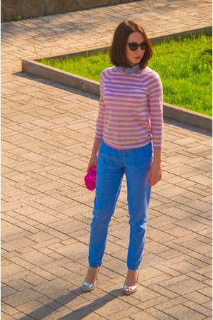 light pink wool JCrew sweater - hot pink JCrew purse