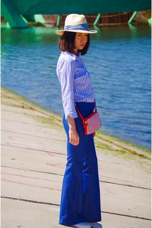 navy H&M jeans - cream Oysho hat - blue mark&spencer shirt