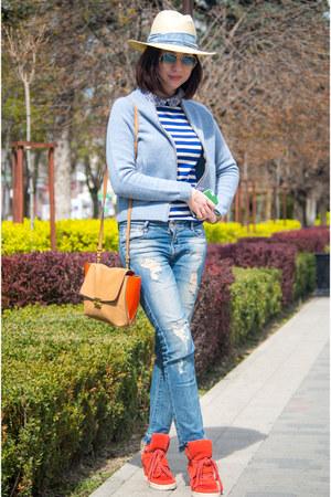 blue cotton Zara jeans - cream Oysho hat - sky blue wool JCrew blazer