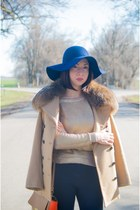 navy diva hat - tan ADAM LIPPES jacket - JCrew bag - gold H&M jumper