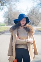 navy diva hat - tan ADAM LIPPES jacket - JCrew bag - gold H&M jumper