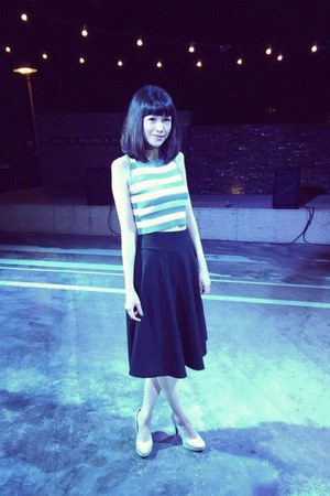 black skirt - silver heels