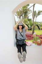 white Converse shoes - heather gray NET hat - black leather bag - heather gray t