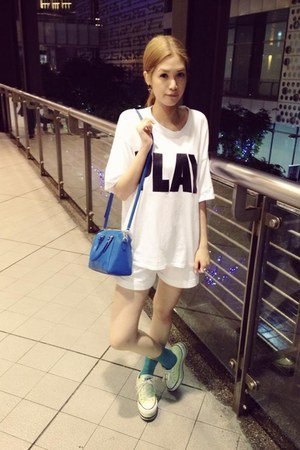 white Mango shorts - lime green Converse shoes - blue coach bag - white t-shirt