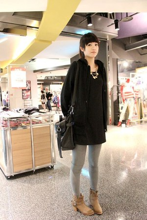 camel boots - black dress - black NET jacket - silver H&amp;M leggings - black leath