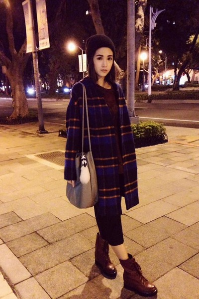 blue check Ann WuXOB coat - brick red Daphne boots - crimson Zara top