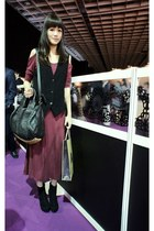 maroon dress - black Alexander Wang bag - black vest - black wedges