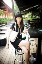 white Converse shoes - black dress - white leather bag - silver bracelet