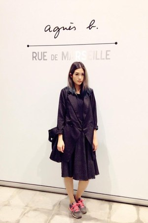 black OrangeBear blazer - black Zara t-shirt - black leather skirt