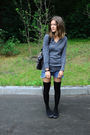 Gray-zara-sweater-blue-handmade-shorts-black-sisley-socks-black-topshop-sh