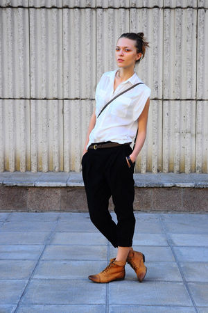 white Zara blouse - orange Topshop boots - brown Promod bag - black Zara pants