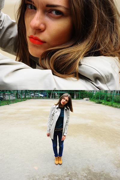 white Zara coat - blue Topshop jeans - green Sisley top - orange Topshop boots