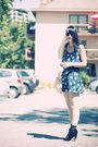 Blue-zara-dress-white-paris-tights-black-ebay-boots-white-vintage-purse