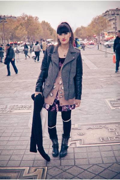 heather gray H&M jacket - magenta new look dress