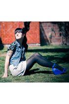 blue Foster vest - black Wet Seal blouse - gray Patronato skirt - blue Melissa s