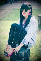 blue Foster shirt - black leggings - pink Ebay shoes - black glasses