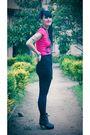 Pink-patronato-t-shirt-black-complot-skirt-black-ebay-boots-black-ah-acces