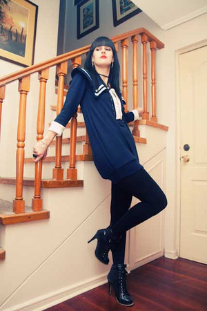 black laced up Ebay boots - blue navy imyourpresent dress