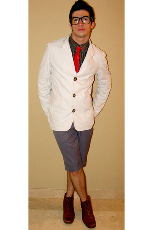 white Color Siete blazer - brown shoes - gray shorts - pull&amp;bear shirt - red tie