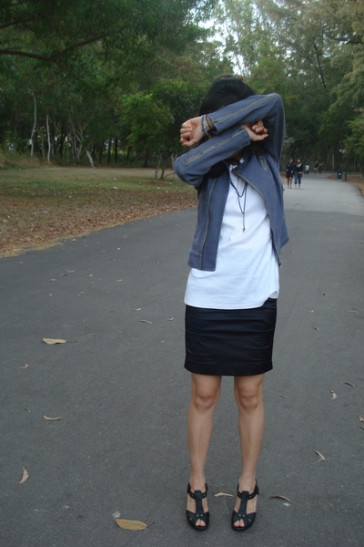 jacket - Byford t-shirt - Bugis Village skirt - Charles & Keith shoes