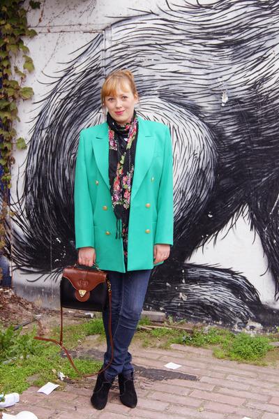 green blazer - crimson bag