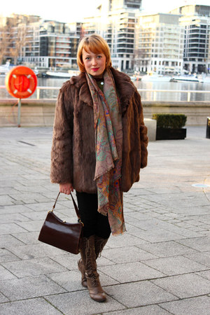 crimson kelly bag bag - furcoat coat - brown coat