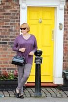 black bag - heather gray panties - deep purple top - cream necklace