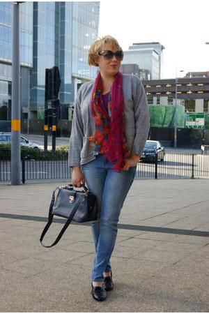 magenta wwwebaycouk scarf - silver skinny jeans Primark jeans - vintage cardigan