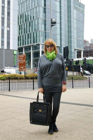 hot pink watch - black boots - heather gray leggings - chartreuse scarf