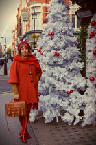 red coat - crimson bag