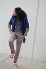 Navy-urban-outfitters-blazer-gray-american-apparel-shirt-blue-gucci-bag-bl