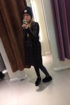 brown long H&M coat - black hat - black soft creepers sneakers