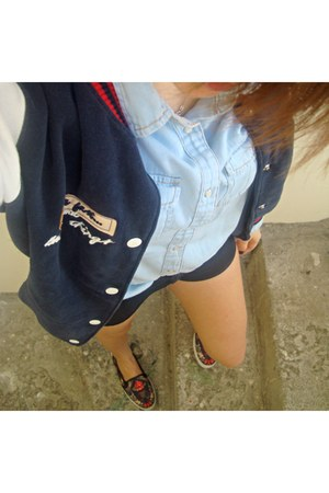 black Zara shorts - Bershka jacket - sky blue Stradivarius shirt