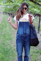 navy denim June bag - blue denim overall Mango jeans - black komono sunglasses