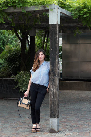 blue Mango shirt - tan Bata bag - black Mango pants - black Bata sandals